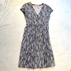 Boden gray white jersey knit faux wrap dress/ 4